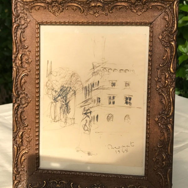 Stunning-framed-sketch,-possibly-of-Uzes-dated-1948