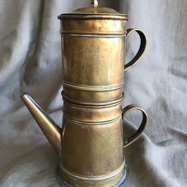 Very-Old-solid-Brass-Double-Coffee-Pot